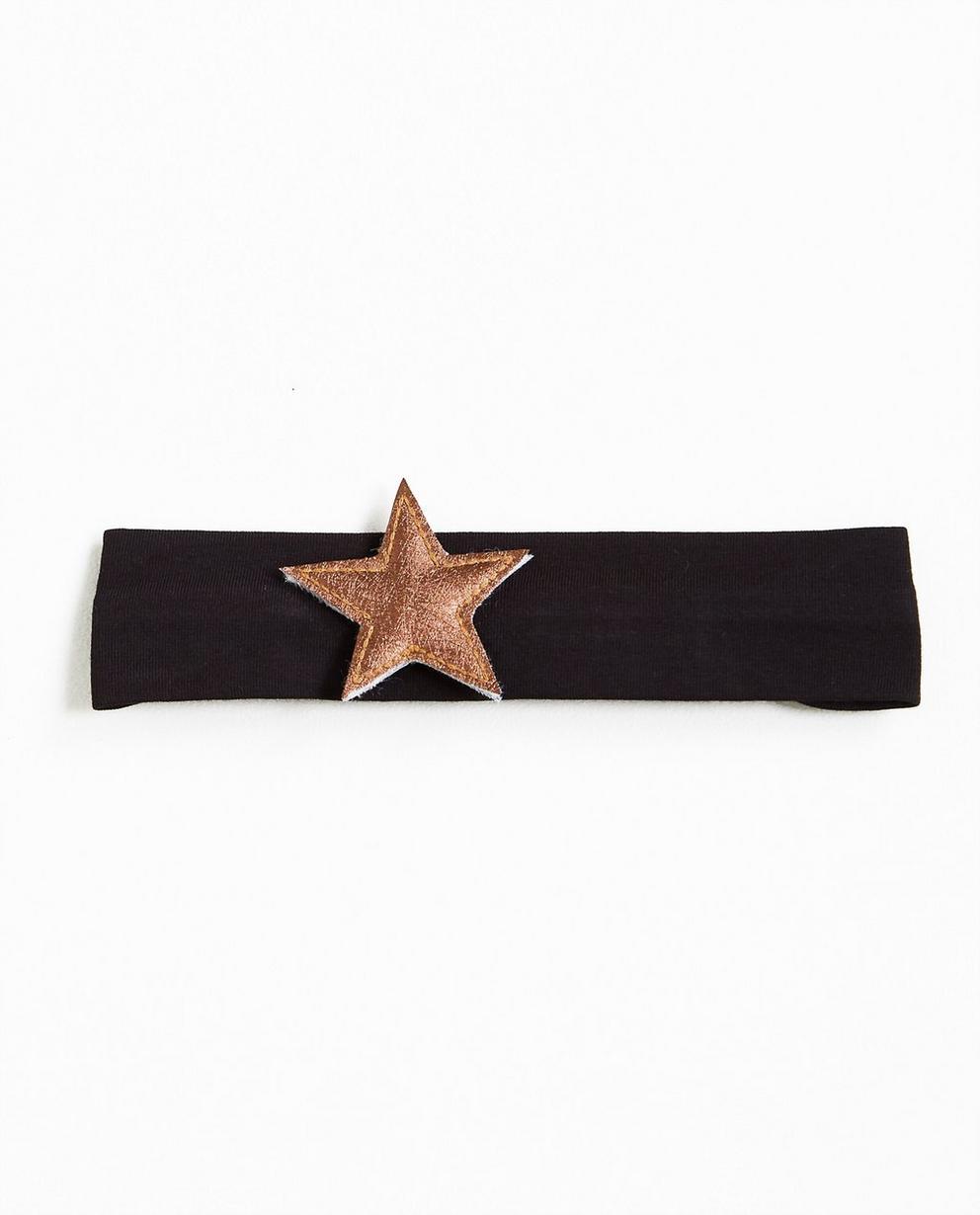 Zwarte stretchy haarband - met metallic ster - JBC